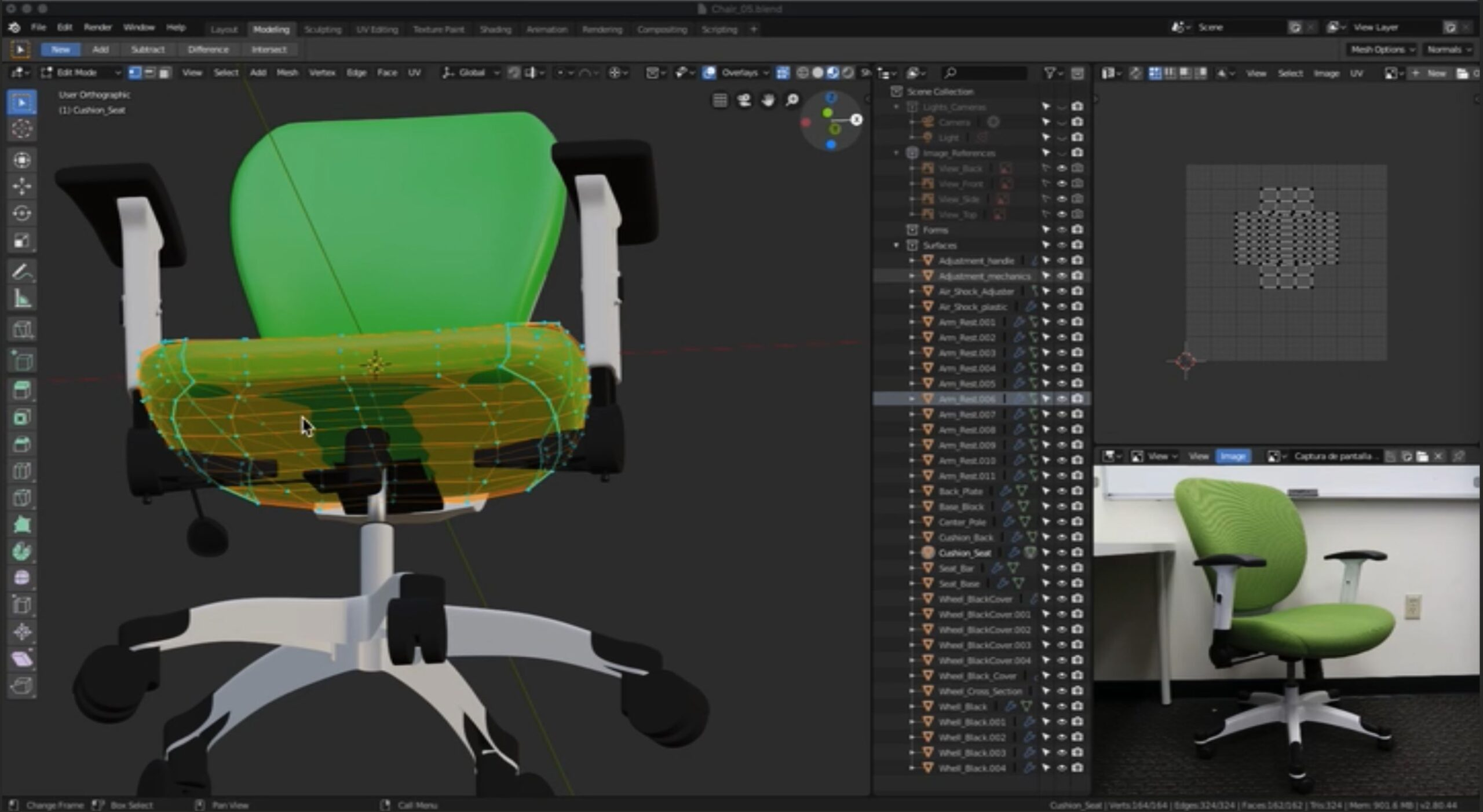 Screen Shot of Office Chair while modeling with Blender